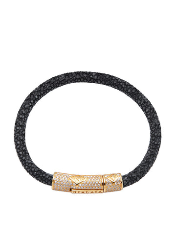 Men's Black Stingray Bracelet with Gold CZ Diamond Lock