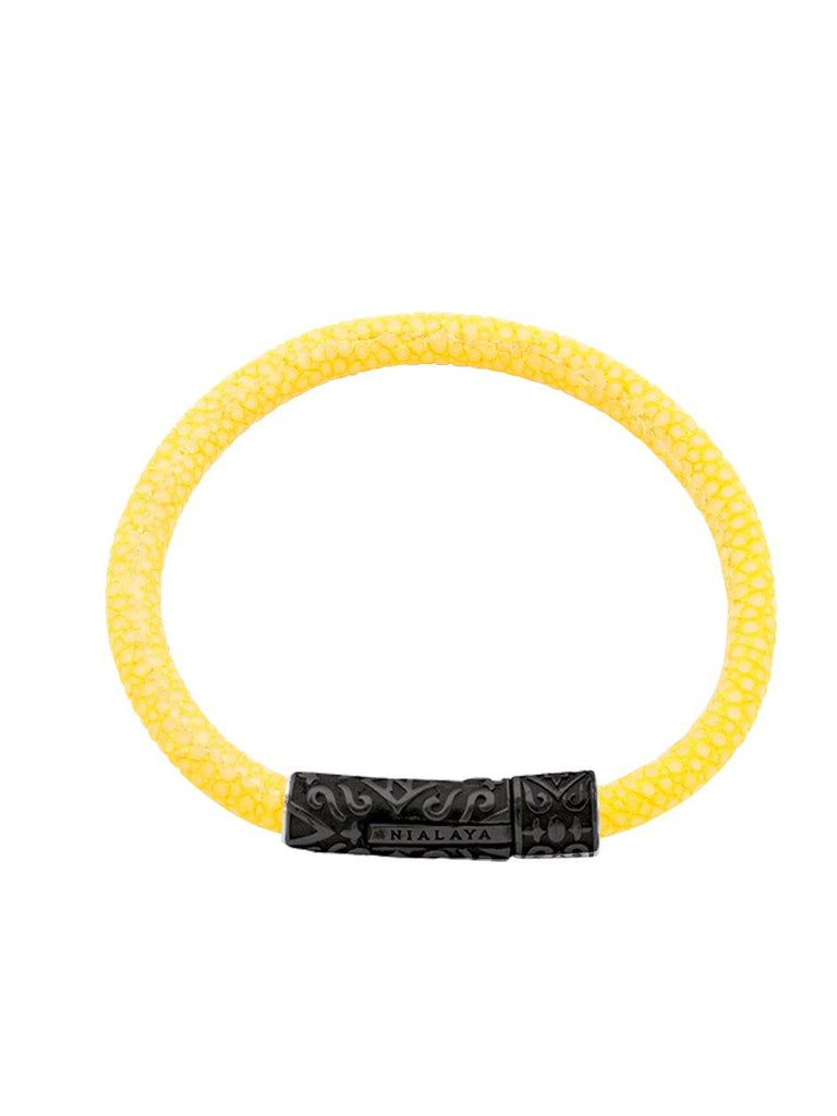 Men's Yellow Stingray Bracelet with Black Lock