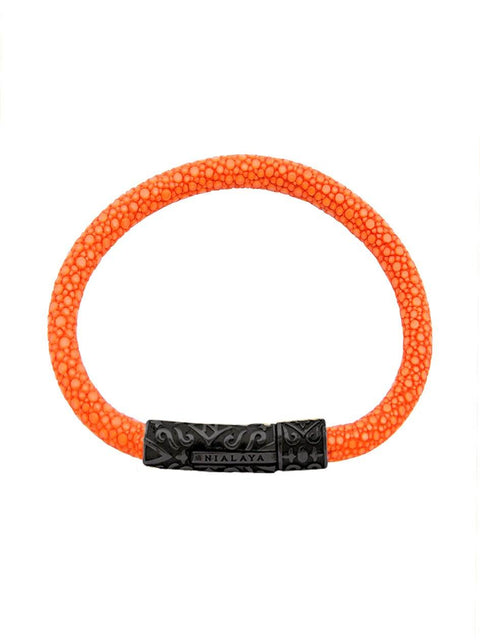 Men's Orange Stingray Bracelet with Black Lock