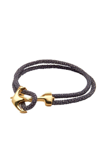 Men's Grey Stingray Bracelet with Gold Anchor Lock