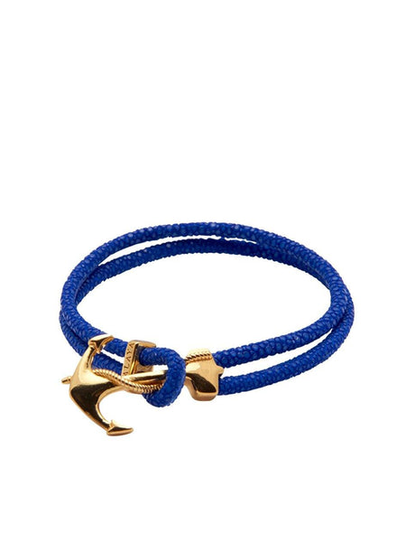Men's Blue Stingray Bracelet with Gold Anchor Lock - Nialaya Jewelry  - 1