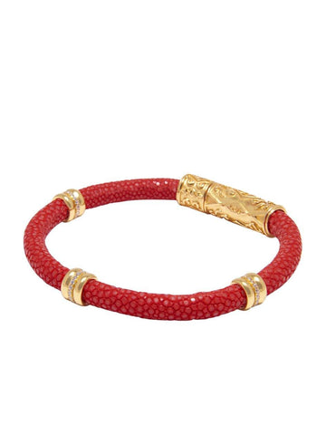 Men's Red Stingray Bracelet with Gold Ring Accents
