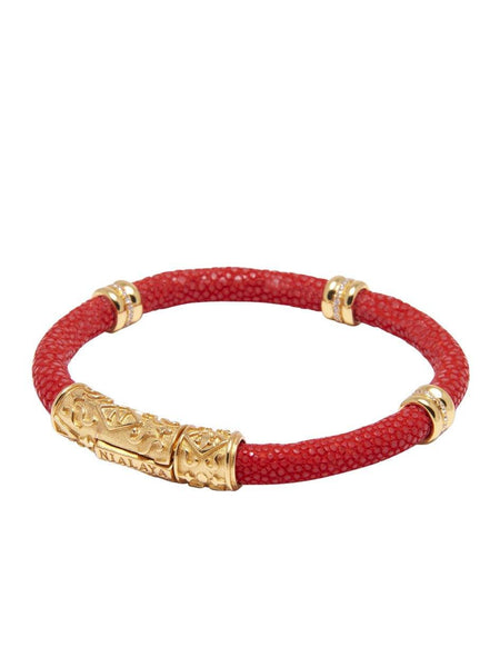 Men's Red Stingray Bracelet with Gold Ring Accents - Nialaya Jewelry  - 2