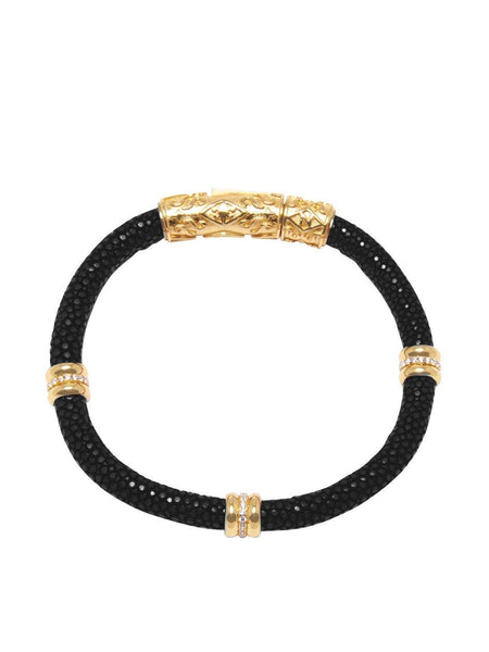 Men's Black Stingray Bracelet with Gold Ring Accents - Nialaya Jewelry  - 3