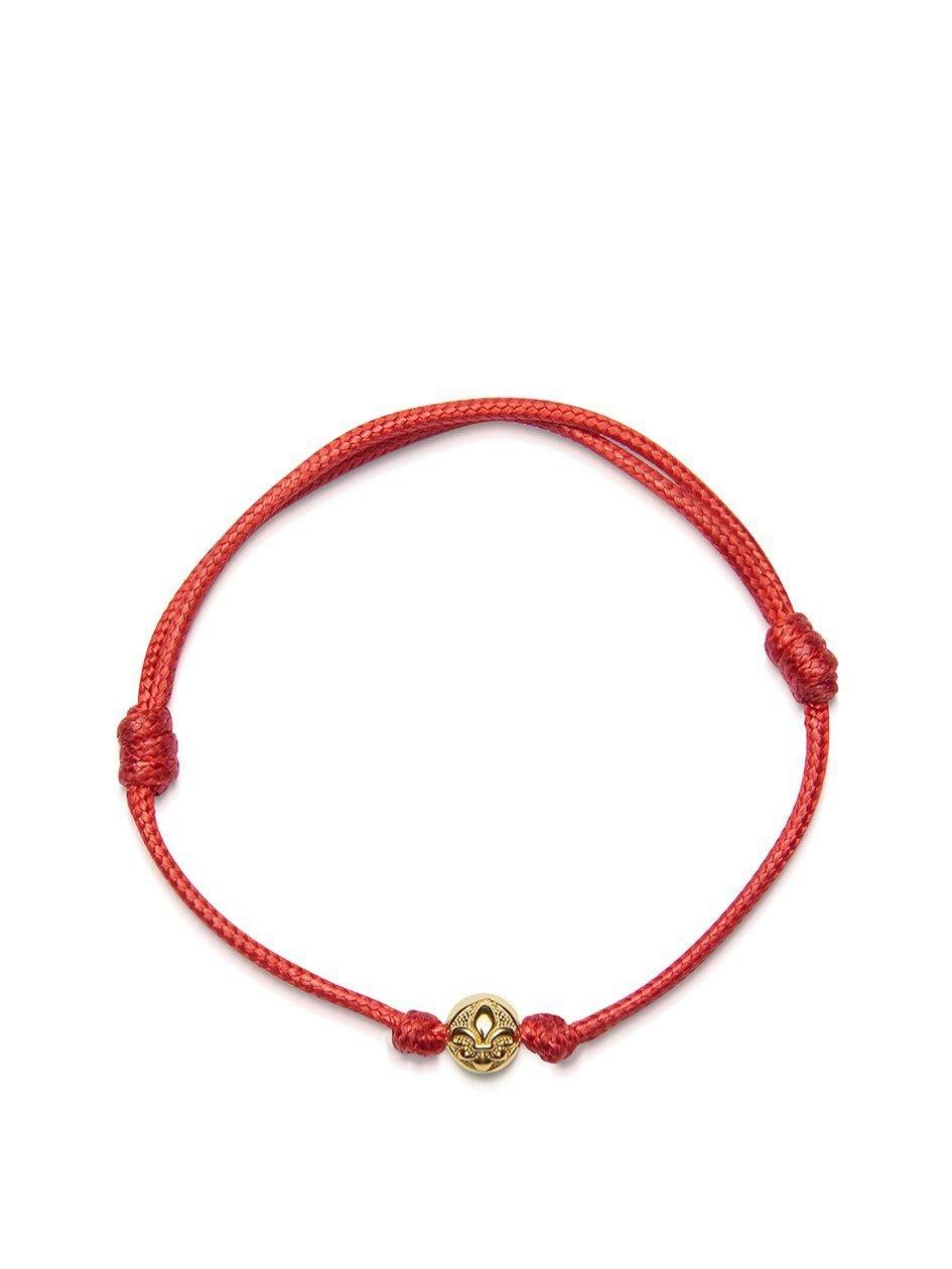 Men's Red String Bracelet with Gold - Nialaya Jewelry