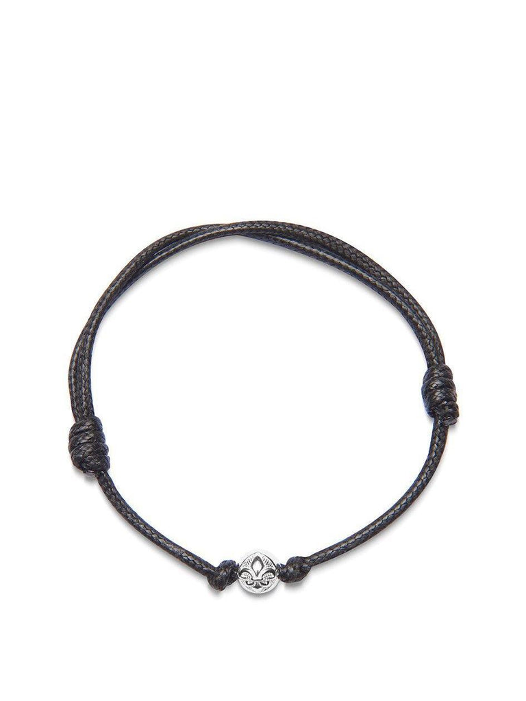 Men's Black String Bracelet with Silver