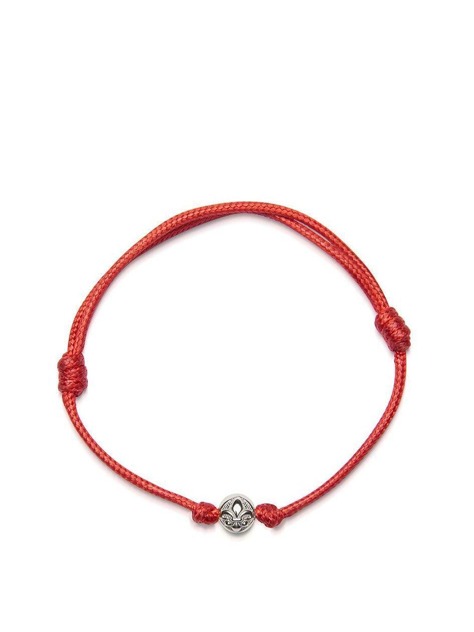 Men's Red String Bracelet with Silver