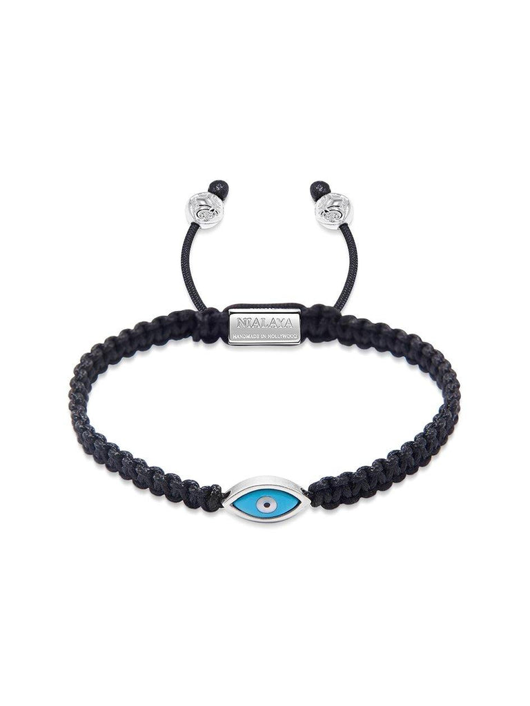Men's Black String Bracelet with Silver Evil Eye