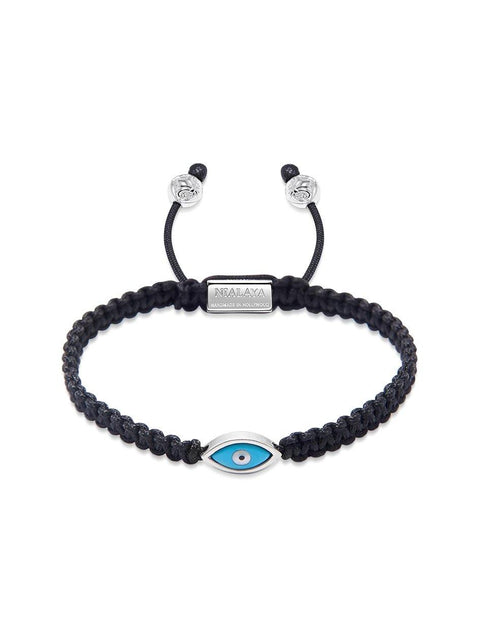 Women's Black String Bracelet with Silver Evil Eye