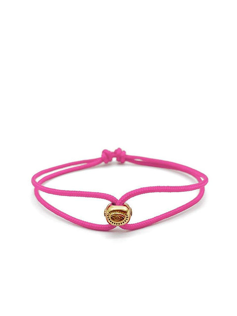 Men's Pink String Bracelet with Gold Evil Eye