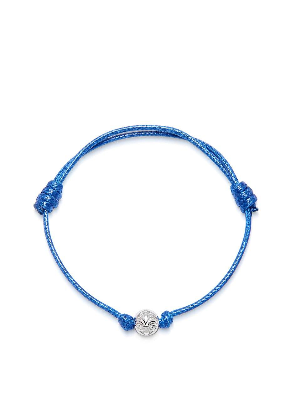 Men's Blue String Bracelet with Silver - Nialaya Jewelry