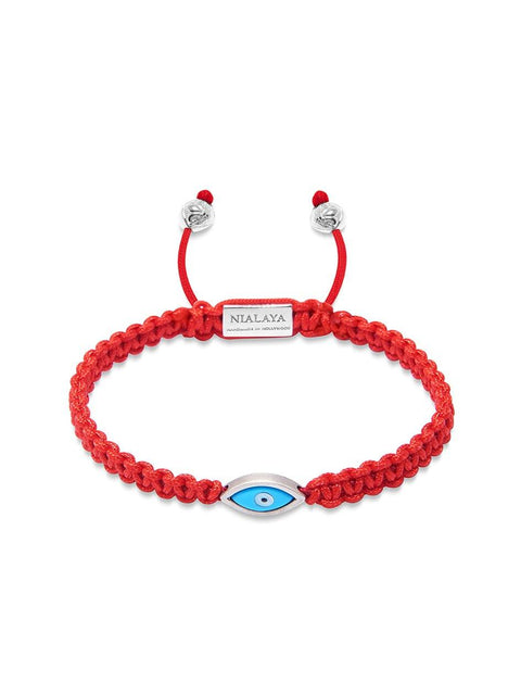Men's Red String Bracelet with Silver Evil Eye - Nialaya Jewelry