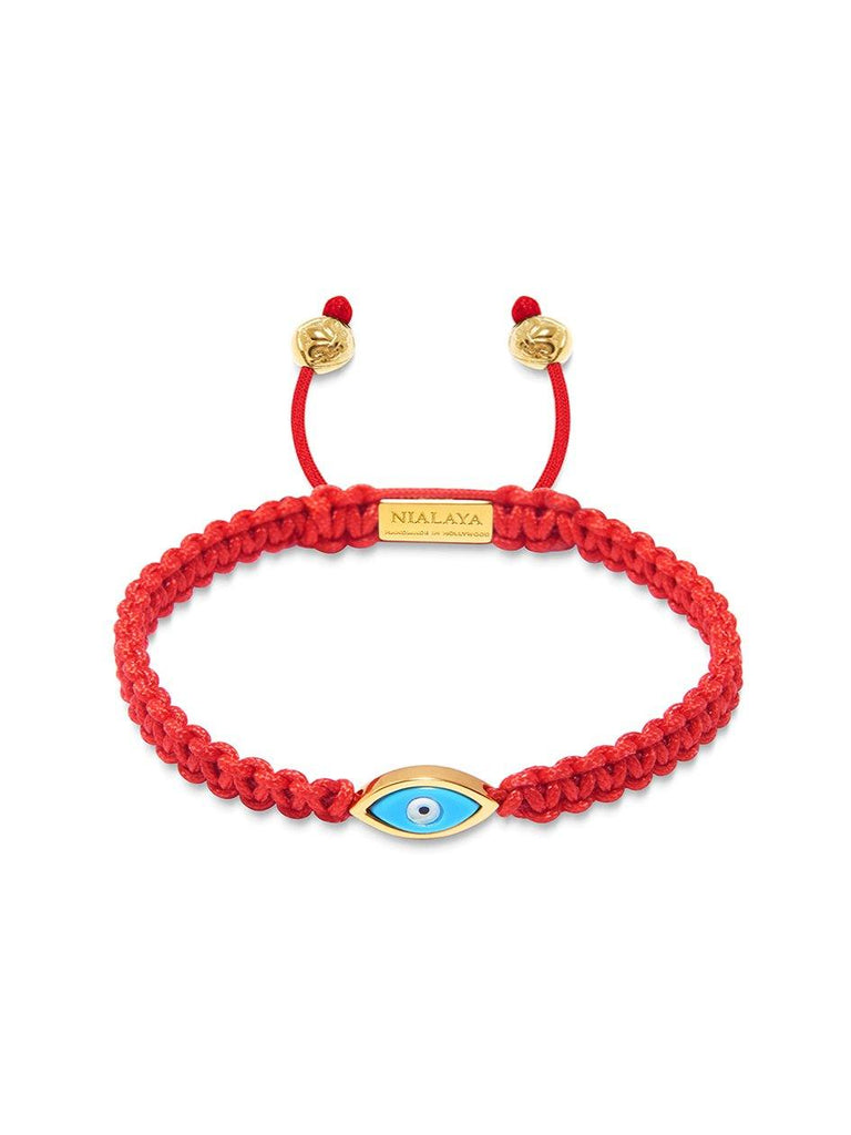 Women's Red String Bracelet with Gold Evil Eye