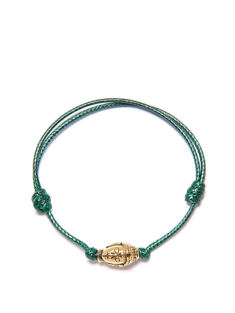 Men's Dark Green String Bracelet with Gold Buddha