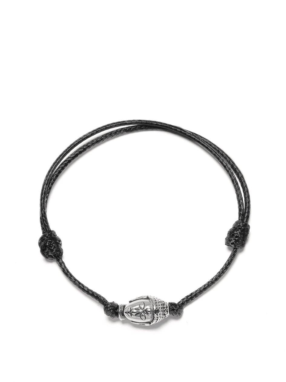 Men's Black String Bracelet with Silver Buddha