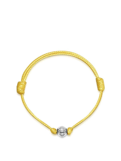 Men's Yellow String Bracelet with Silver