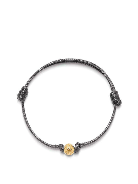 Men's Grey String Bracelet with Gold - Nialaya Jewelry