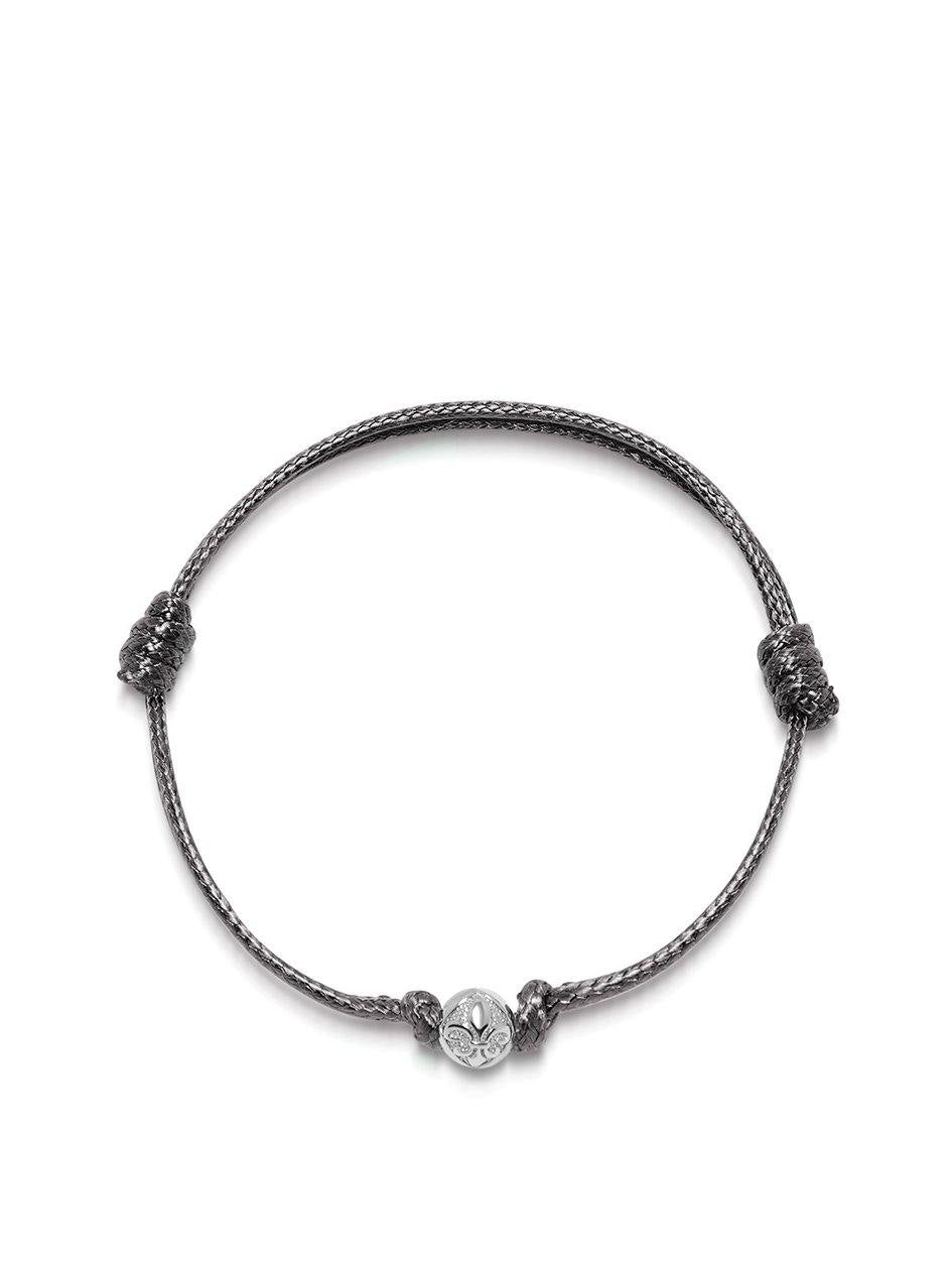 Men's Grey String Bracelet with Silver