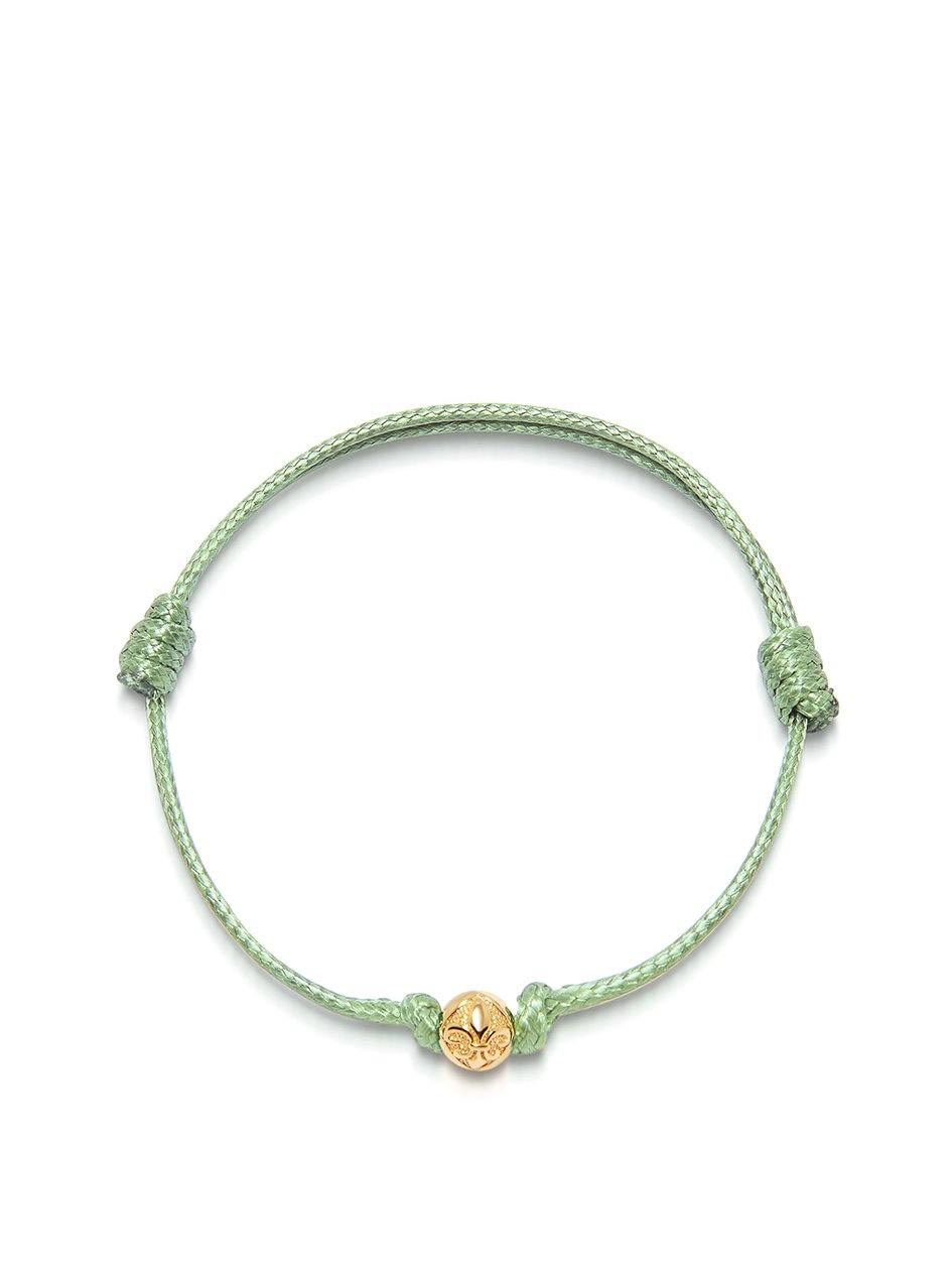 Men's Light Green String Bracelet with Gold - Nialaya Jewelry