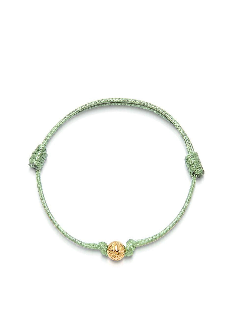 Men's Light Green String Bracelet with Gold