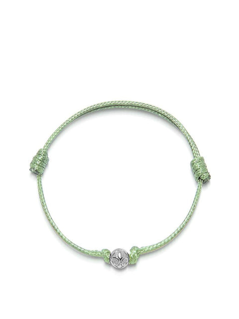 Men's Light Green String Bracelet with Silver - Nialaya Jewelry