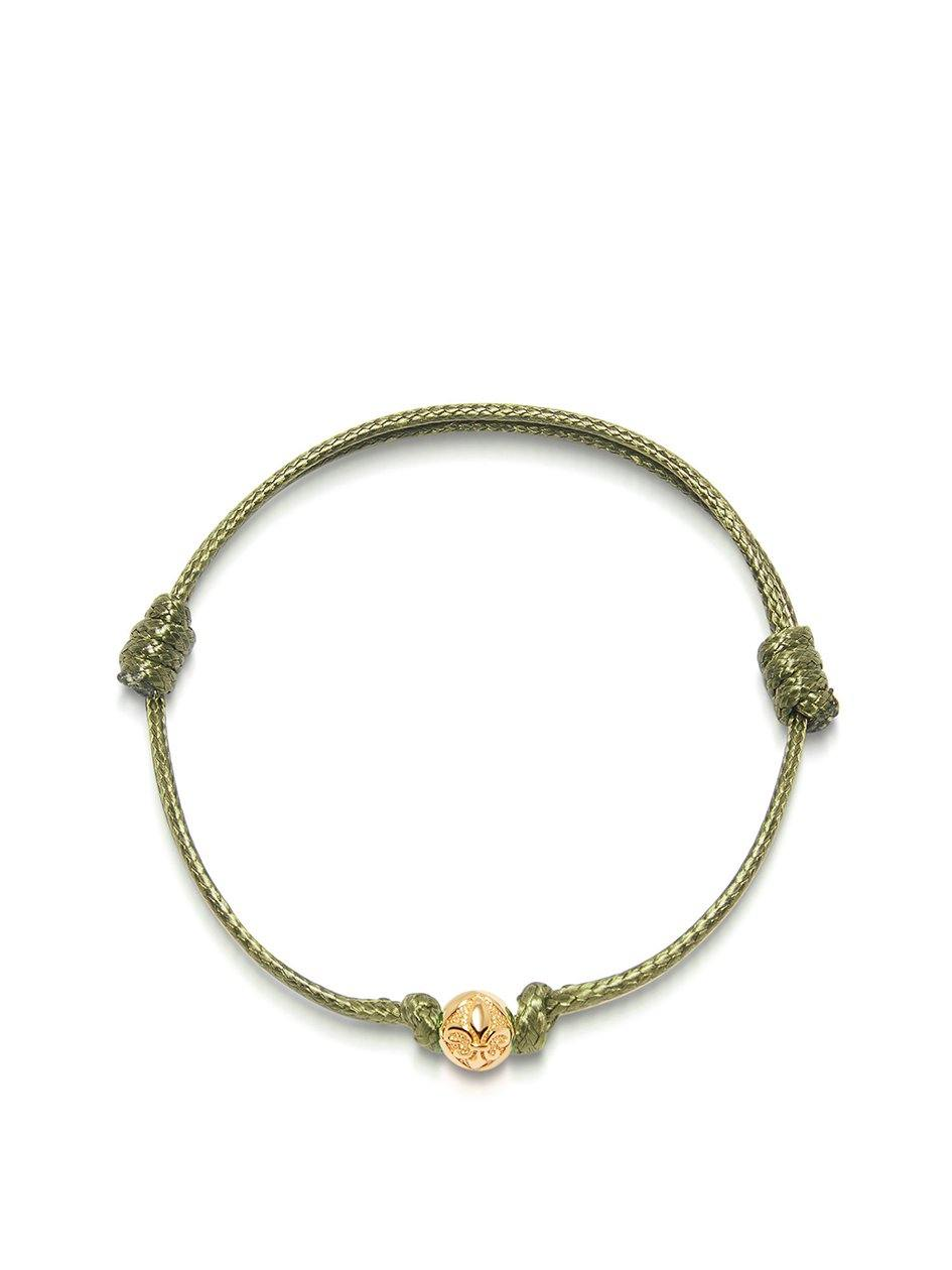 Men's Olive String Bracelet with Gold