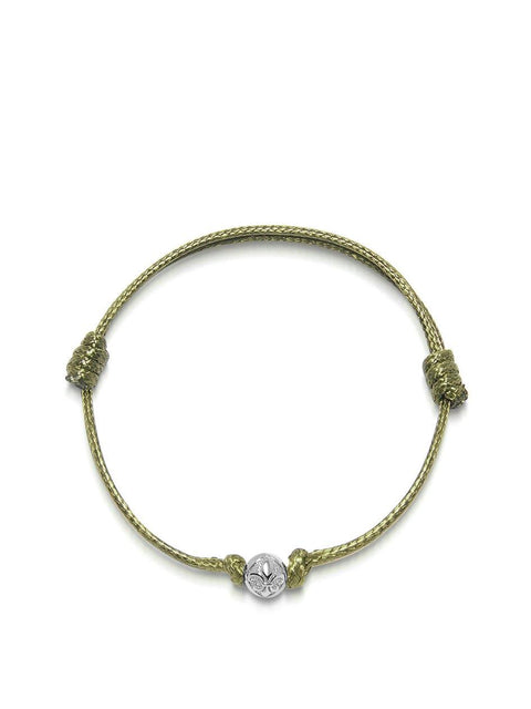 Men's Olive String Bracelet with Silver - Nialaya Jewelry