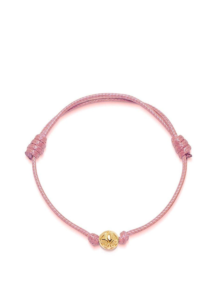 Men's Pink String Bracelet with Gold - Nialaya Jewelry