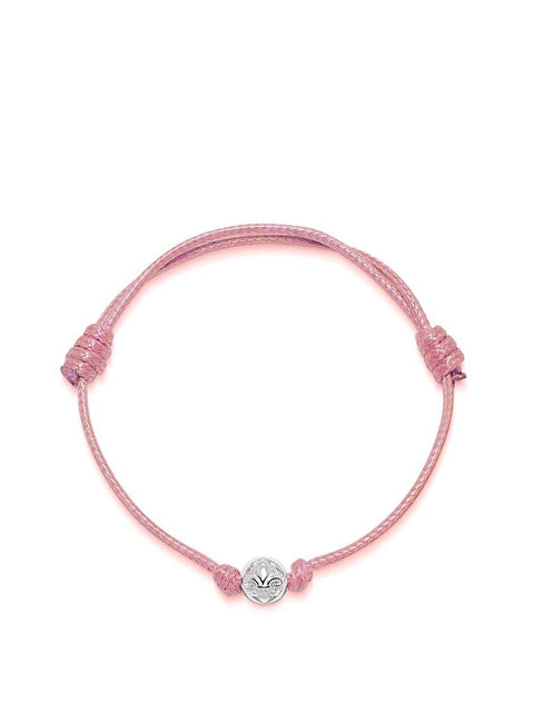 Men's Pink String Bracelet with Silver - Nialaya Jewelry