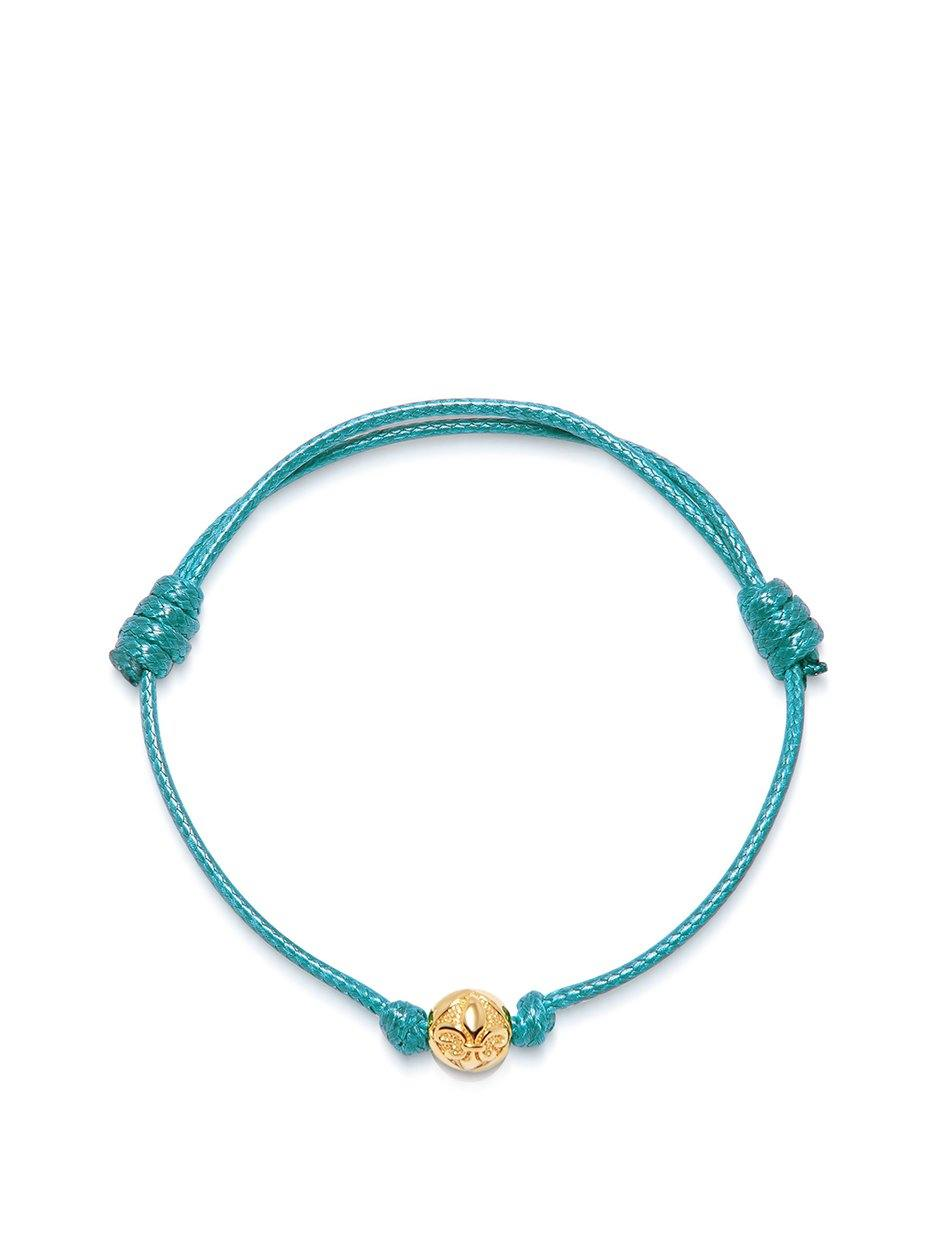 Men's Turquoise String Bracelet with Gold