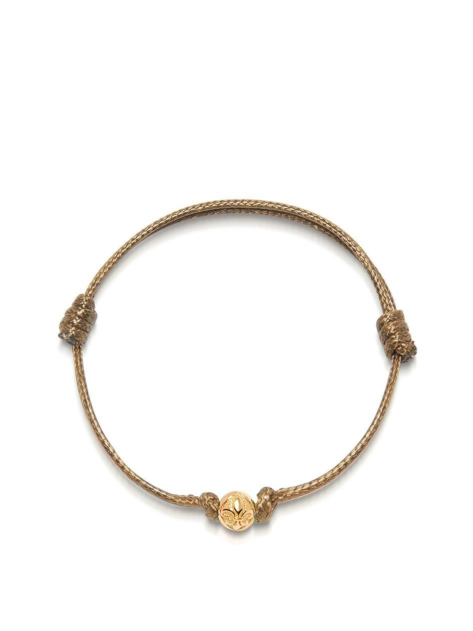 Men's Brown String Bracelet with Gold