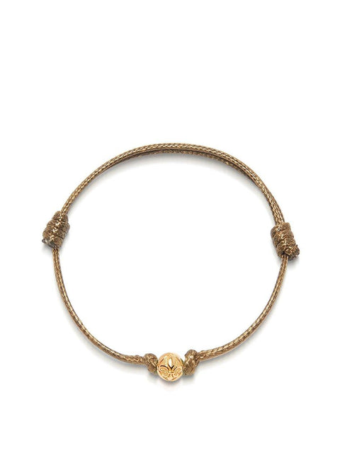 Men's Brown String Bracelet with Gold - Nialaya Jewelry