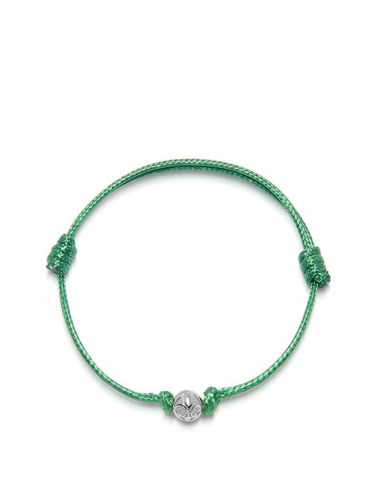 Men's Green String Bracelet with Silver