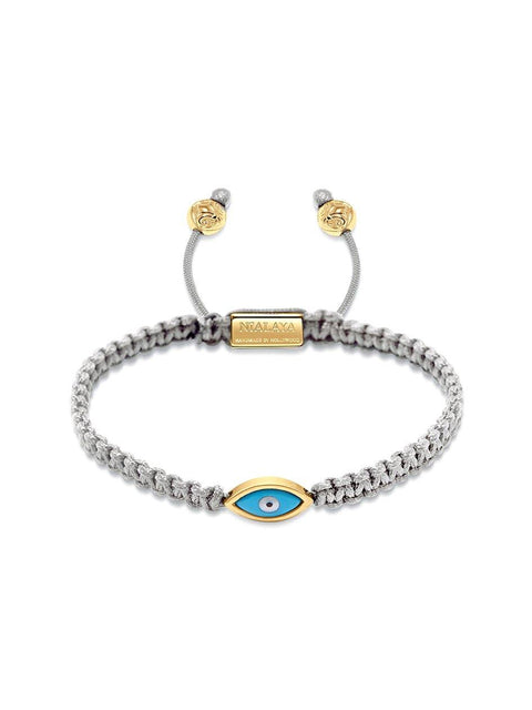 Men's Grey String Bracelet with Gold Evil Eye - Nialaya Jewelry