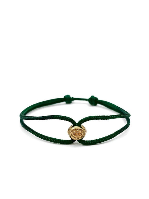 Men's Green String Bracelet with Gold Evil Eye