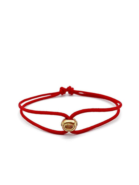 Men's Red String Bracelet with Gold Evil Eye