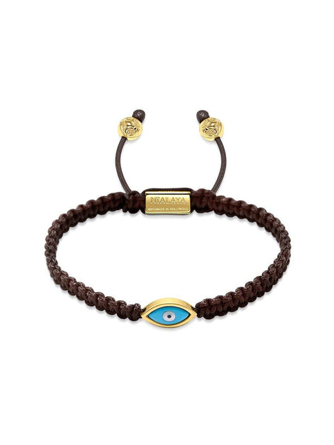 Men's Brown String Bracelet with Gold Evil Eye - Nialaya Jewelry