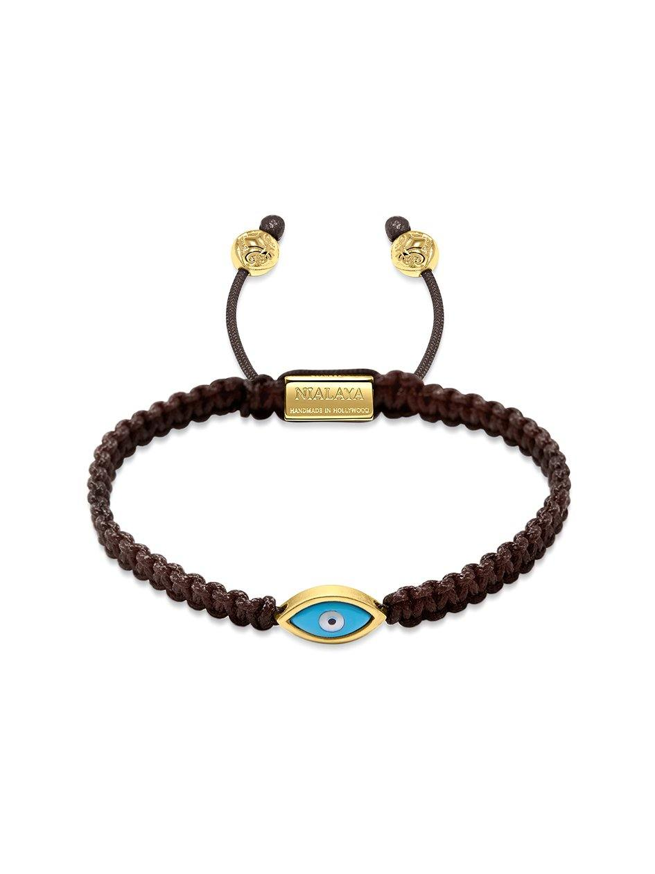Women's Brown String Bracelet with Gold Evil Eye