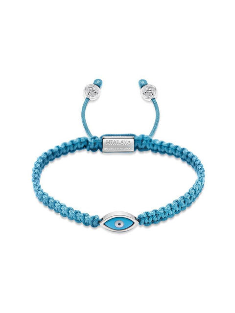 Women's Light Blue String Bracelet with Silver Evil Eye