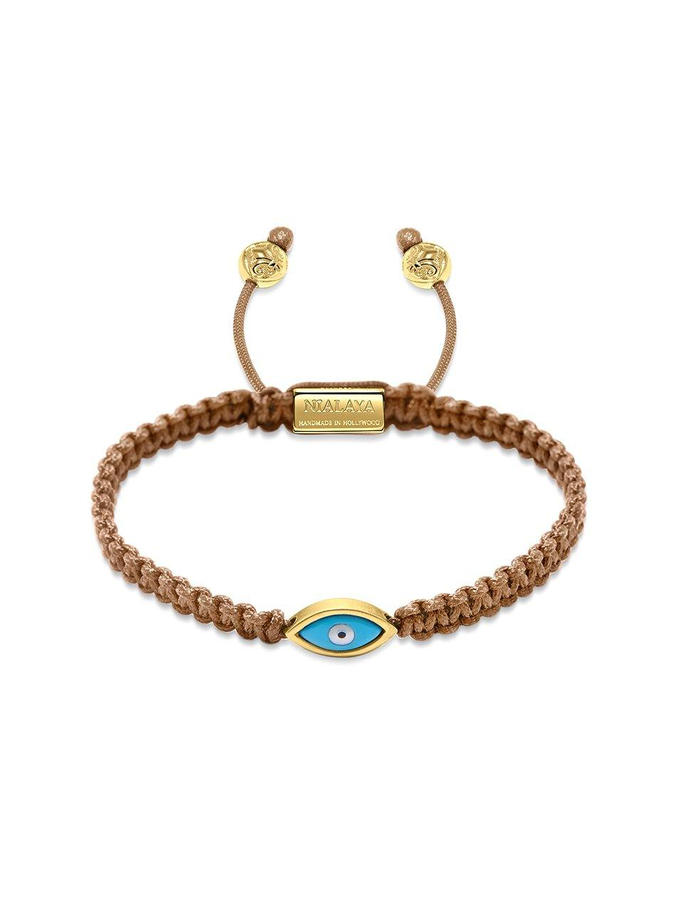 Women's Light Brown String Bracelet with Gold Evil Eye