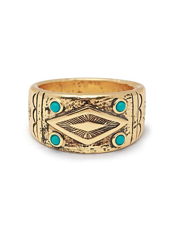 Men's Engraved Vintage Gold Ring with Turquoise