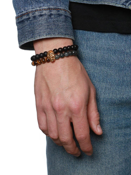 Men's Double Bead Bracelet with Matte Onyx, Bronzite, Jade and Brown Tiger Eye