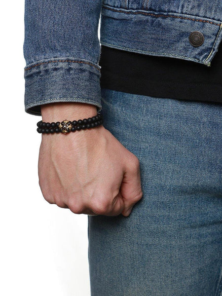 Men's Wristband With Matte Onyx