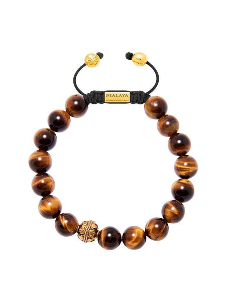 Men's Beaded Bracelet with Brown Tiger Eye - Nialaya Jewelry