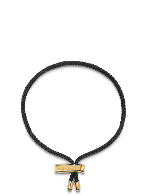 Men's Black String Bracelet with Adjustable Lock