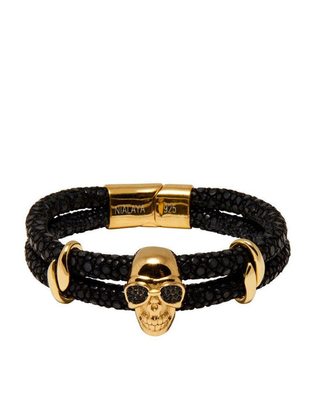 Men's Black Stingray Bracelet with Gold Skull - Nialaya Jewelry  - 4