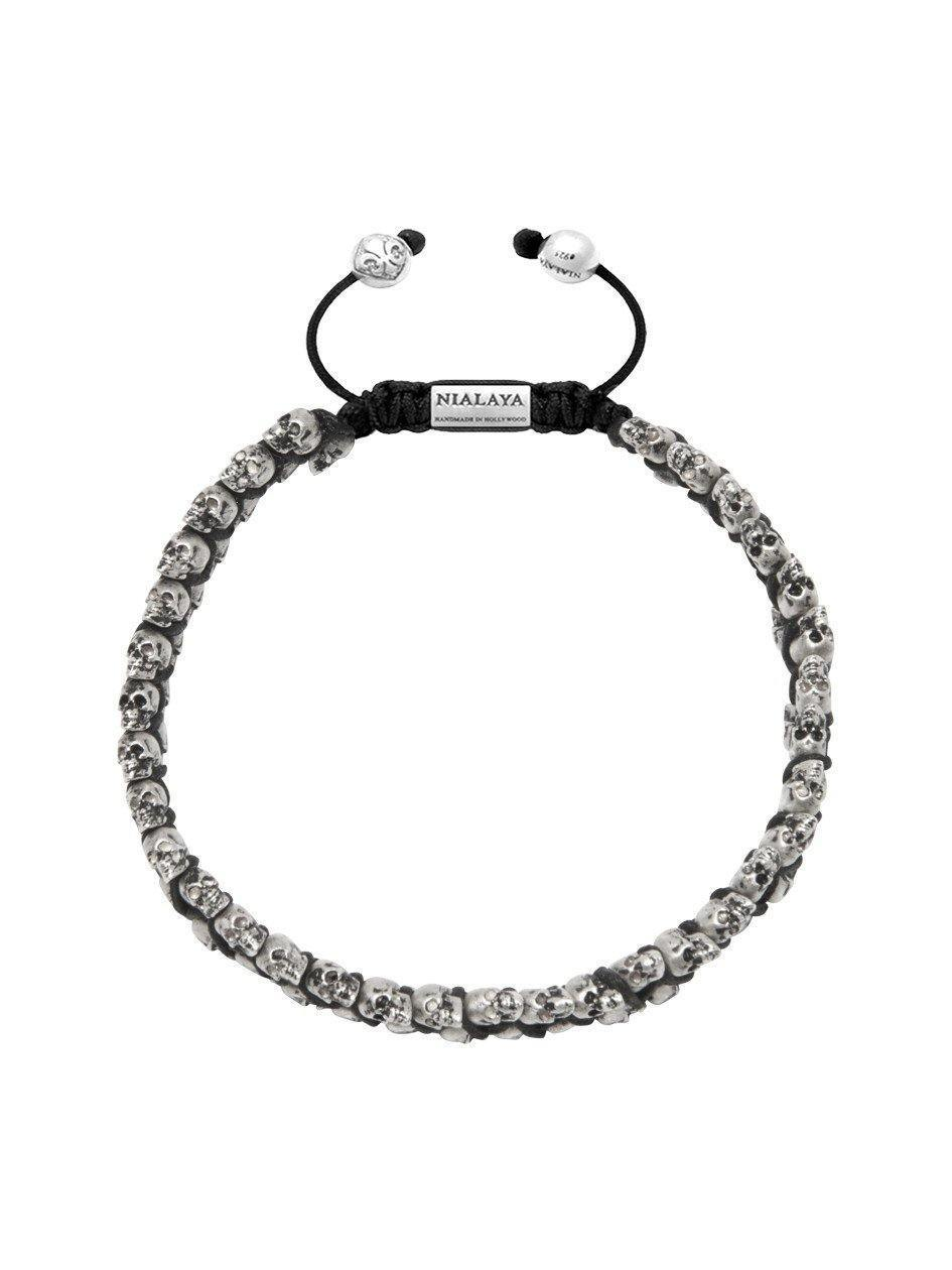 Nialaya beaded skull bracelet - Black