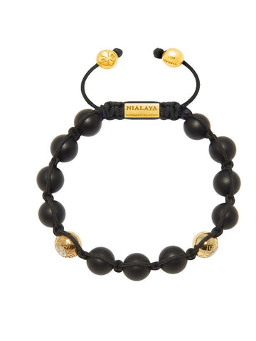 Men's Classic Beaded Bracelet with Matte Onyx