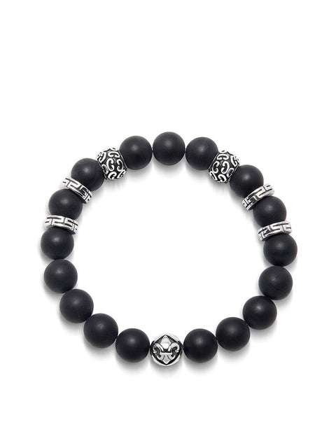 Men's Wristband with 10MM Matte Onyx and Silver - Nialaya Jewelry