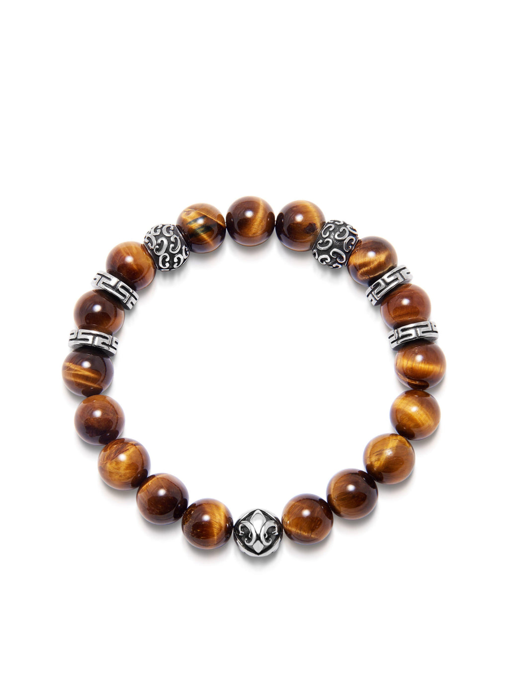 Men's Wristband with 10MM Tiger Eye and Silver